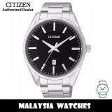 (100% Original) Citizen BI1030-53E Quartz Analog Black Dial Mineral Glass Stainless Steel Men's Watch