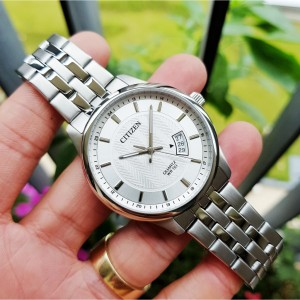 (100% Original) Citizen BI1050-81A Quartz Analog Silver White Textured Dial Mineral Glass Stainless Steel Men's Watch