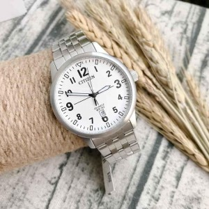 (100% Original) Citizen BI1050-81B Quartz Analog White Dial Mineral Glass Stainless Steel Men's Watch