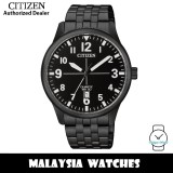 (100% Original) Citizen BI1055-52E Quartz Analog Black Dial Mineral Glass Black-Tone Stainless Steel Men's Watch