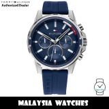 (100% Original) Tommy Hilfiger 1791791 Mason Multifunction Blue Dial Blue Silicone Strap Men's Watch (2 Years International Warranty)