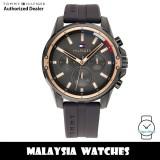 (100% Original) Tommy Hilfiger 1791792 Mason Multifunction Dark Grey Dial Dark Grey Silicone Strap Men's Watch (2 Years International Warranty)