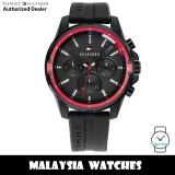 (100% Original) Tommy Hilfiger 1791793 Mason Multifunction Black Dial Black Silicone Strap Men's Watch (2 Years International Warranty)