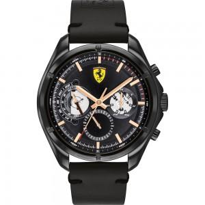 (100% Original) Scuderia Ferrari 0830752 Speedracer Black Dial Stainless Steel Case Black Leather Strap Men's Watch (2 Years International Warranty)
