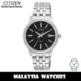 (100% Original) Citizen BI1080-55E Quartz Analog Black Dial Mineral Glass Stainless Steel Men's Watch