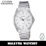 (100% Original) Citizen BI5040-58A Quartz Analog Silver White Dial Mineral Glass Stainless Steel Watch