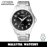(100% Original) Citizen BI5040-58E Quartz Analog Black Dial Mineral Glass Stainless Steel Men's Watch