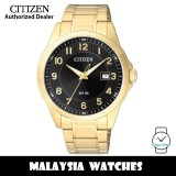 (100% Original) Citizen BI5042-52E Quartz Analog Black Dial Mineral Glass Gold-Tone Stainless Steel Men's Watch