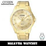 (100% Original) Citizen BI5042-52P Quartz Analog Champagne Dial Mineral Glass Gold-Tone Stainless Steel Men's Watch