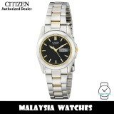 (100% Original) Citizen EQ0564-59E Quartz Analog Black Dial Mineral Glass Two-Tone Stainless Steel Ladies Watch (3 Years Citizen Warranty)