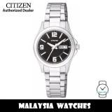 (100% Original) Citizen EQ0597-50E Quartz Analog Black Dial Mineral Glass Stainless Steel Ladies Watch (3 Years Citizen Warranty)
