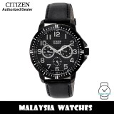 (100% Original) Citizen AG8315-04E Quartz Analog Multifunction Black Dial Black Leather Strap Men's Watch (3 Years Citizen Warranty)