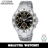 (100% Original) Citizen AN3330-51F Quartz Chronograph Black Dial Mineral Glass Silver-Tone Stainless Steel Men's Watch (3 Years Citizen Warranty)