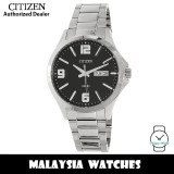 (100% Original) Citizen BF2001-55E Quartz Analog Black Dial Mineral Glass Silver-Tone Stainless Steel Men's Watch (3 Years Citizen Warranty)