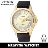 (100% Original) Citizen BF2008-05P Quartz Analog Mineral Glass Gold-Tone Stainless Steel Case Brown Leather Strap Men's Watch (3 Years Citizen Warranty)