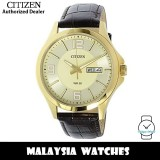(100% Original) Citizen BF2008-05P Quartz Analog Gold Dial Mineral Glass Gold-Tone Stainless Steel Case Brown Leather Strap Men's Watch (3 Years Citizen Warranty)