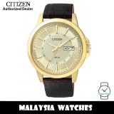 (100% Original) Citizen BF2013-05P Quartz Analog Gold Dial Mineral Glass Gold-Tone Stainless Steel Case Brown Leather Strap Men's Watch (3 Years Citizen Warranty)