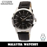 (100% Original) Citizen BF2017-04E Quartz Analog Black Dial Mineral Glass Silver-Tone Stainless Steel Case Black Leather Strap Men's Watch (3 Years Citizen Warranty)