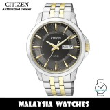 (100% Original) Citizen BF2018-52H Quartz Analog Black Dial Mineral Glass Two-Tone Stainless Steel Men's Watch (3 Years Citizen Warranty)