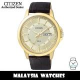 (100% Original) Citizen BF2019-09P Quartz Analog Gold-Tone Dial Mineral Glass Dark Brown Leather Strap Men's Watch (3 Years Citizen Warranty)