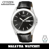 (100% Original) Citizen BF0580-06E Quartz Analog Black Dial Mineral Glass Black Leather Strap Men's Watch (3 Years Citizen Warranty)