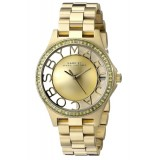 MARC BY MARC JACOBS MBM3338 Henry Transparent Dial Gold Tone Ladies Watch (Gold)