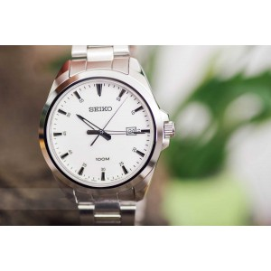 Seiko Classic SUR205P1 Quartz Analog White Dial Hardlex Crystal Glass Stainless Steel Men's Watch