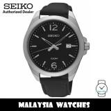 Seiko Classic SUR215P1 Quartz Analog Black Dial Hardlex Crystal Glass Stainless Steel Case Black Leather Strap Men's Watch