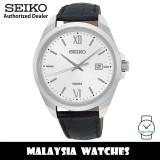 Seiko Classic SUR283P1 Quartz Analog Silver White Dial Hardlex Crystal Glass Stainless Steel Case Black Leather Strap Men's Watch