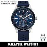 (100% Original) Tommy Hilfiger 1791635 Austin Blue Dial Blue Silicone Strap Men's Watch (2 Years International Warranty)