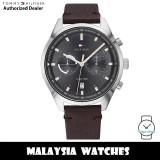 (100% Original) Tommy Hilfiger 1791729 Quartz Analog Grey Dial Brown Leather Strap Men's Watch (2 Years International Warranty)