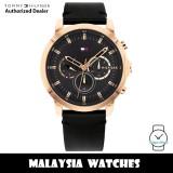(100% Original) Tommy Hilfiger 1791798 Jameson MultiDial Rose Gold-Tone Stainless Steel Case Black Leather Men's Watch  (2 Years International Warranty)