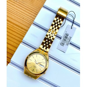 Seiko 5 SNKL28K1 Automatic See-thru Back Gold-Tone Dial Stainless Steel Men's Watch