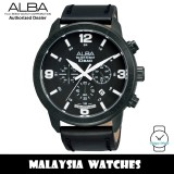 Alba AT3683X Quartz Chronograph Black Dial Black Leather Strap Men's Watch AT3683 AT3683X1 (from SEIKO Watch Corporation)