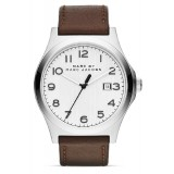 MARC BY MARC JACOBS MBM5045 Jimmy White Dial Brown Leather Strap Men's Watch (White & Brown)