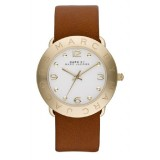 MARC BY MARC JACOBS MBM8574 Amy Quartz White Dial Brown Leather Strap Ladies Watch (White & Brown)