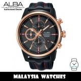 Alba AM3456X SignA Quartz Chronograph Dark Grey Dial Black Leather Strap Men's Watch AM3456 AM3456X1 (from SEIKO Watch Corporation)