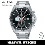 Alba AM3437X Active Quartz Chronograph Black Dial Stainless Steel Men's Watch AM3437 AM3437X1 (from SEIKO Watch Corporation)