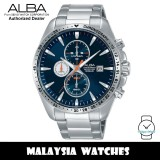 Alba AM3441X Active Quartz Chronograph Blue Dial Stainless Steel Men's Watch AM3441 AM3441X1 (from SEIKO Watch Corporation)