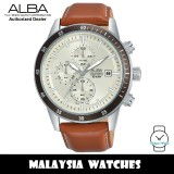Alba AM3557X Quartz Chronograph Silver Dial Stainless Steel Case Brown Leather Strap Men's Watch AM3557 AM3557X1 (from SEIKO Watch Corporation)