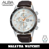 Alba AM3555X Quartz Chronograph Silver Dial Stainless Steel Case Brown Leather Strap Men's Watch AM3555 AM3555X1 (from SEIKO Watch Corporation)