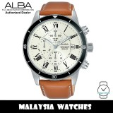 Alba AM3563X Quartz Chronograph Silver Dial Stainless Steel Case Brown Leather Strap Men's Watch AM3563 AM3563X1 (from SEIKO Watch Corporation)
