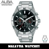 Alba AT3H27X Active Chronograph Quartz Black Dial Stainless Steel Men's Watch AT3H27 AT3H27X1 (from SEIKO Watch Corporation)