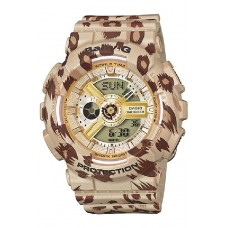 (OFFICIAL MALAYSIA WARRANTY) Casio Baby-G BA-110LP-9A Leopard Print Series Analog & Digital Women's Resin Watch (Brown)