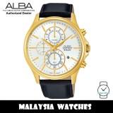 Alba AM3416X Prestige Quartz Chronograph Gold-Tone Stainless Steel Case Black Leather Strap Men's Watch AM3416 AM3416X1  (from SEIKO Watch Corporation)
