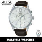 Alba AT3885X Quartz Chronograph Silver White Dial Stainless Steel Case Brown Leather Strap Men's Watch AM3885 AM3885X1 (from SEIKO Watch Corporation)