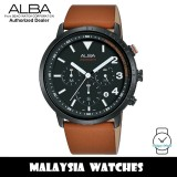 Alba AT3F53X SignA Quartz Chronograph Black Dial Stainless Steel Case Brown Leather Strap Men's Watch AT3F53 AT3F53X1 (from SEIKO Watch Corporation)