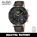Alba AT3F68X Prestige Quartz Chronograph Black Dial Stainless Steel Case Brown Leather Strap Men's Watch AT3F68 AT3F68X1 (from SEIKO Watch Corporation)