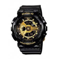 (OFFICIAL MALAYSIA WARRANTY) Casio Baby-G BA-110-1A Limited Model Analog & Digital Women's Resin Watch (Black & Gold)