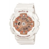 (OFFICIAL MALAYSIA WARRANTY) Casio Baby-G BA-110-7A1 Standard Analog & Digital Women's Resin Watch (White & Rose Gold)